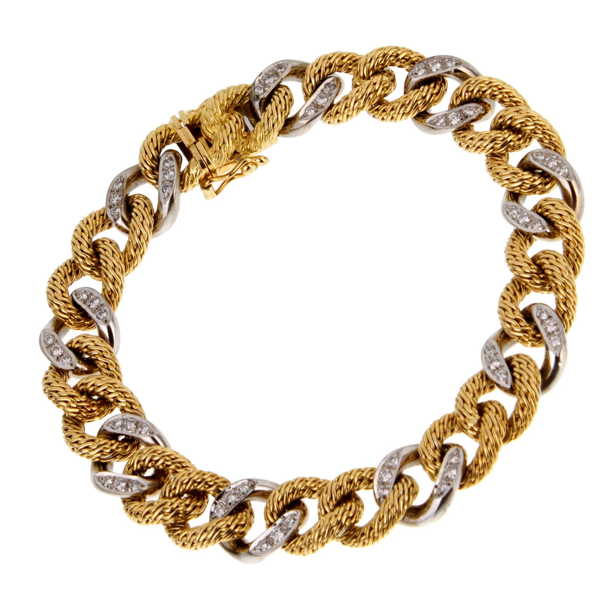 Piaget Diamond Yellow Gold Chain Link Bracelet