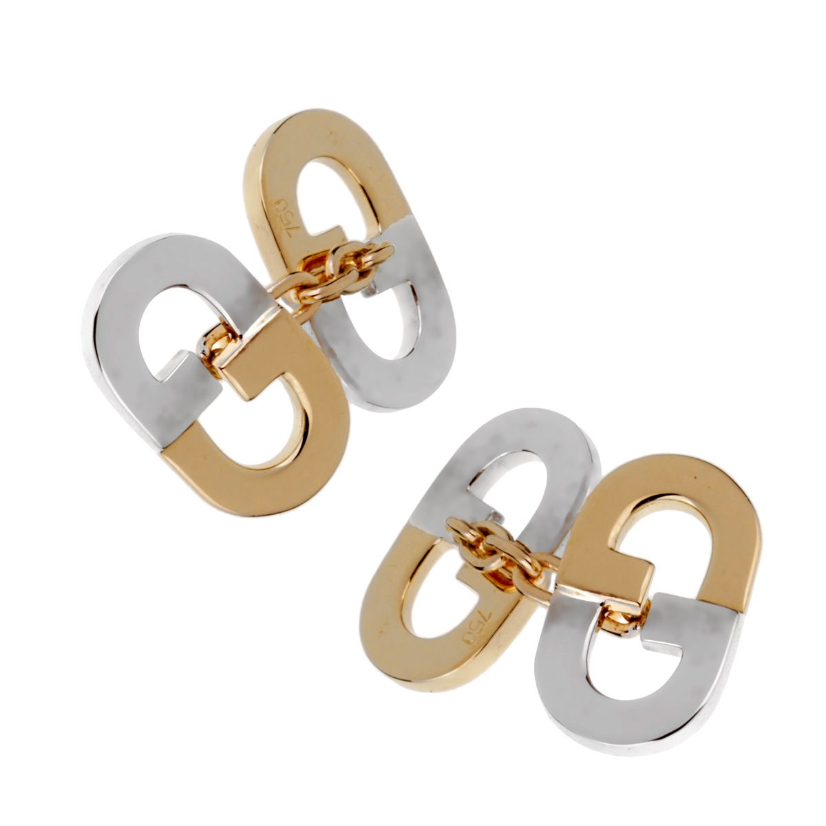 Gucci Vintage GG Two Tone Gold Cufflinks