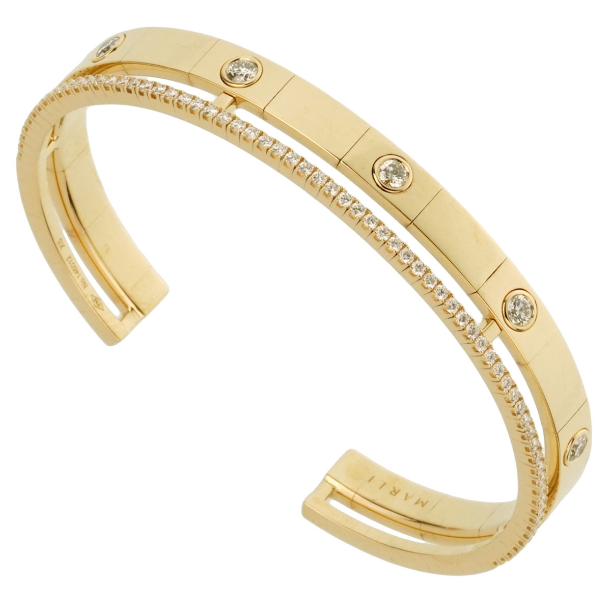 Marli Diamond Yellow Gold Slip On Cuff Bangle Bracelet
