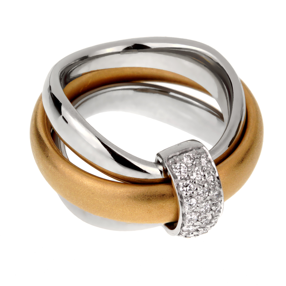 Pomellato Cocktail Rolling Diamond Gold Ring