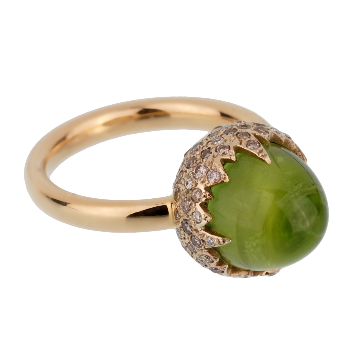 Pomellato Rose Gold 8 Carat Peridot Diamond Cocktail Ring