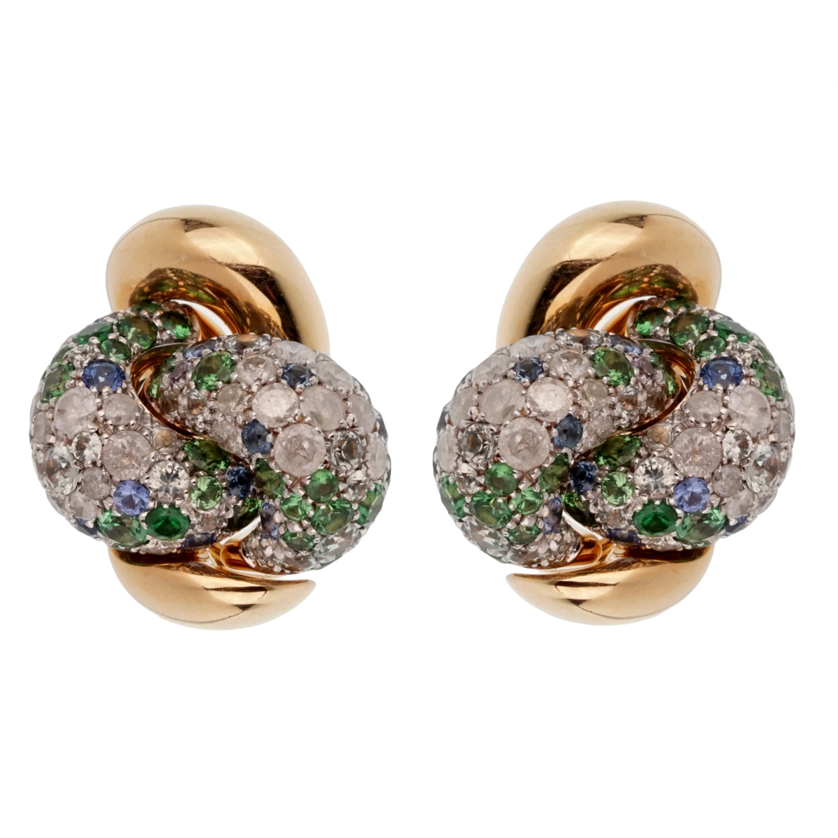 Pomellato Multi Color Sapphire Diamond Rose Gold Earrings