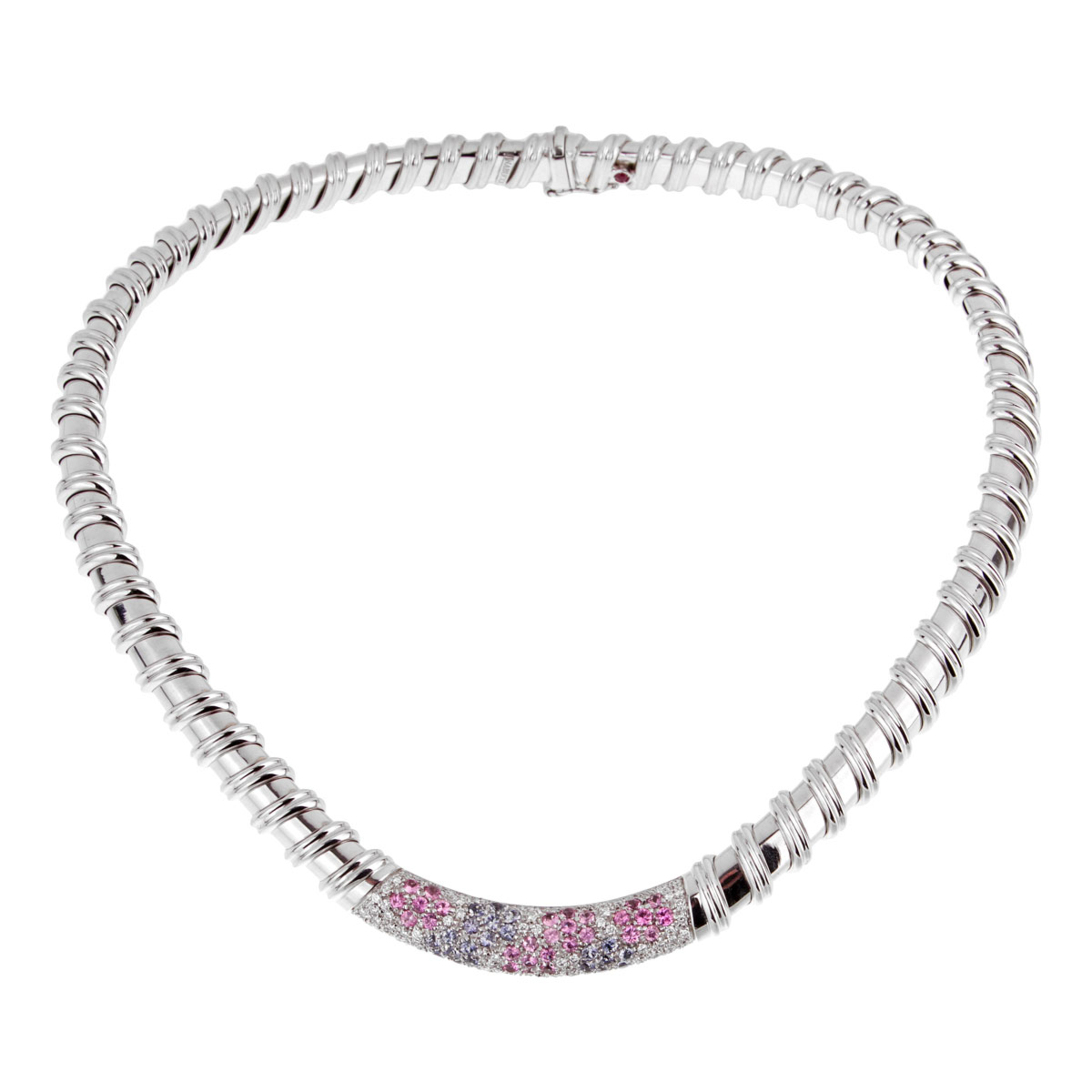 Roberto Coin Nabucco Diamond Pink & Blue Sapphire Necklace