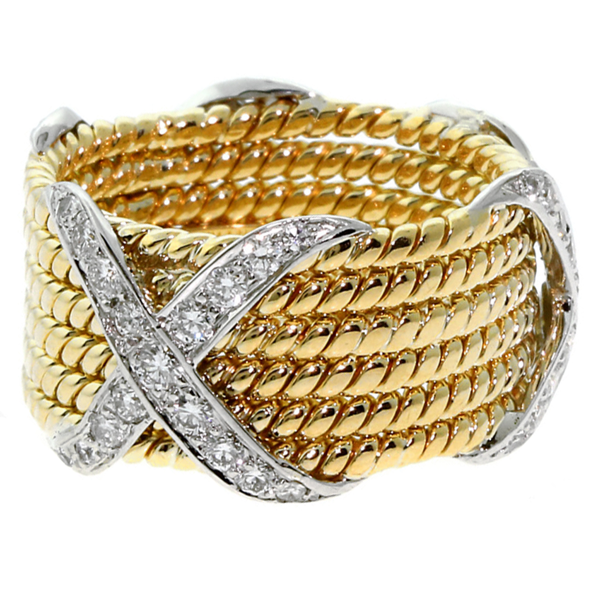 Tiffany & Co Schlumberger 6 Row Rope Diamond Ring