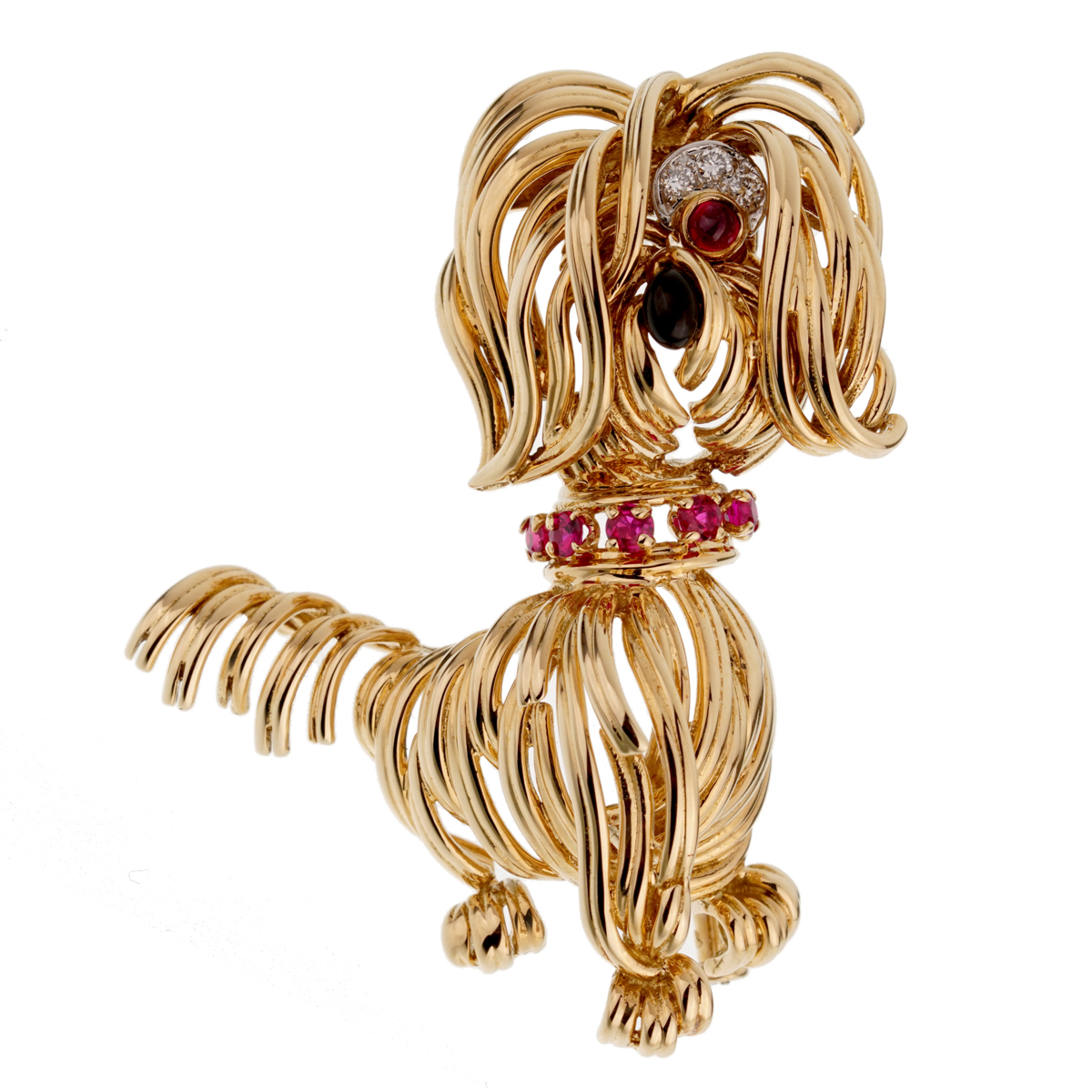 Van Cleef & Arpels Diamond Yellow Gold Dog Brooch