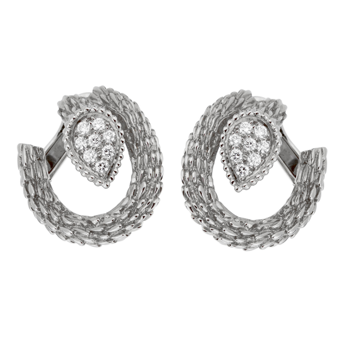 Boucheron Serpent Boheme White Gold Diamond Hoop Earrings - Boucheron Jewelry