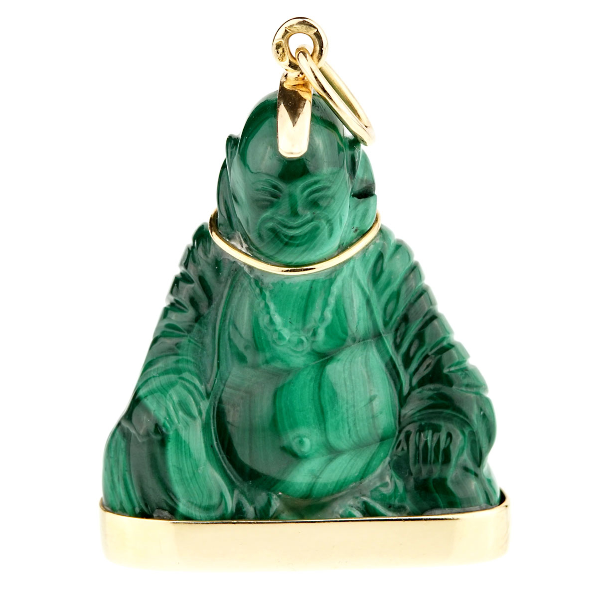Cartier Buddha Malachite Gold Pendant Necklace - Cartier Jewelry