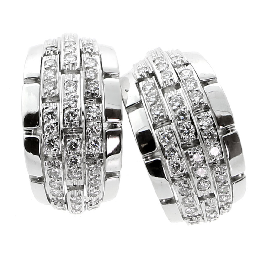 Cartier Panthere Oriane Diamond White Gold Earrings - Cartier Jewelry