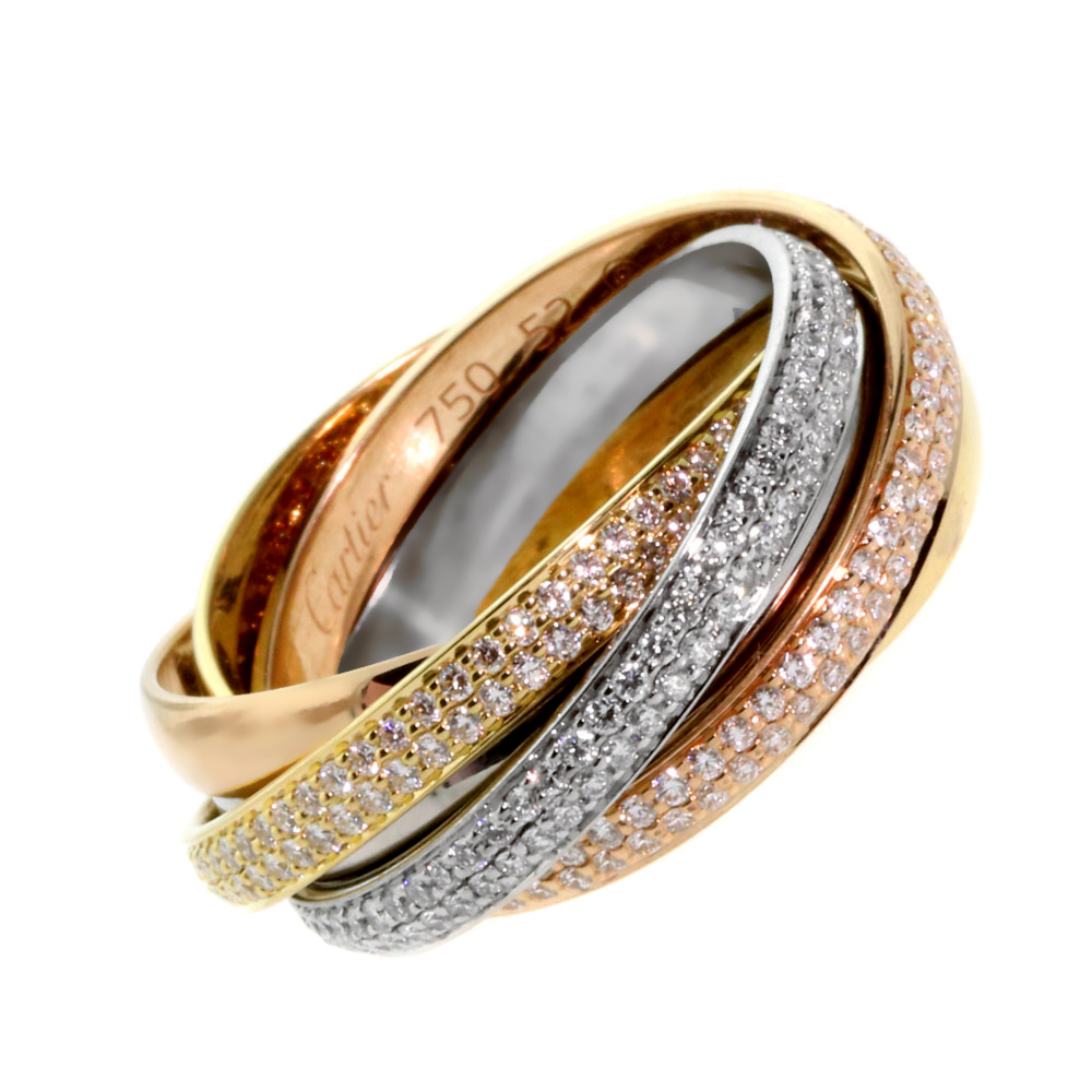 Cartier Trinity 6 Band Diamond Gold Ring - Cartier Jewelry