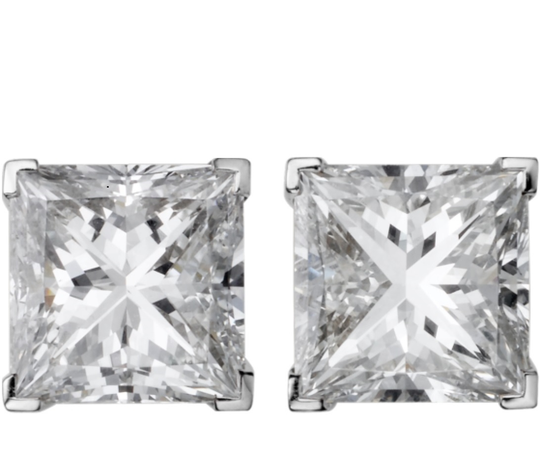 Cartier 1895 Diamond Princess Cut Stud Earrings - Estate Jewelry
