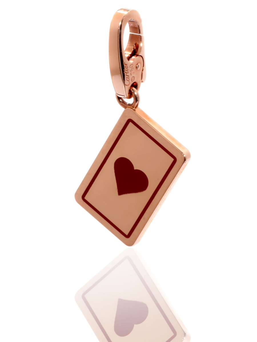 Cartier Heart Playing Card Charm Rose Gold Pendant - Cartier Jewelry