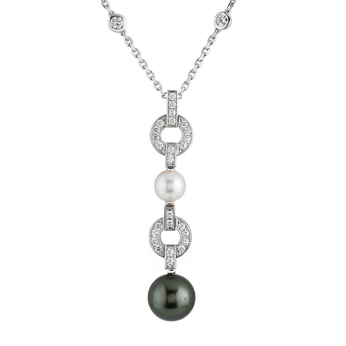 Cartier Himalia Pearl Diamond Drop White Gold Necklace - Cartier Jewelry