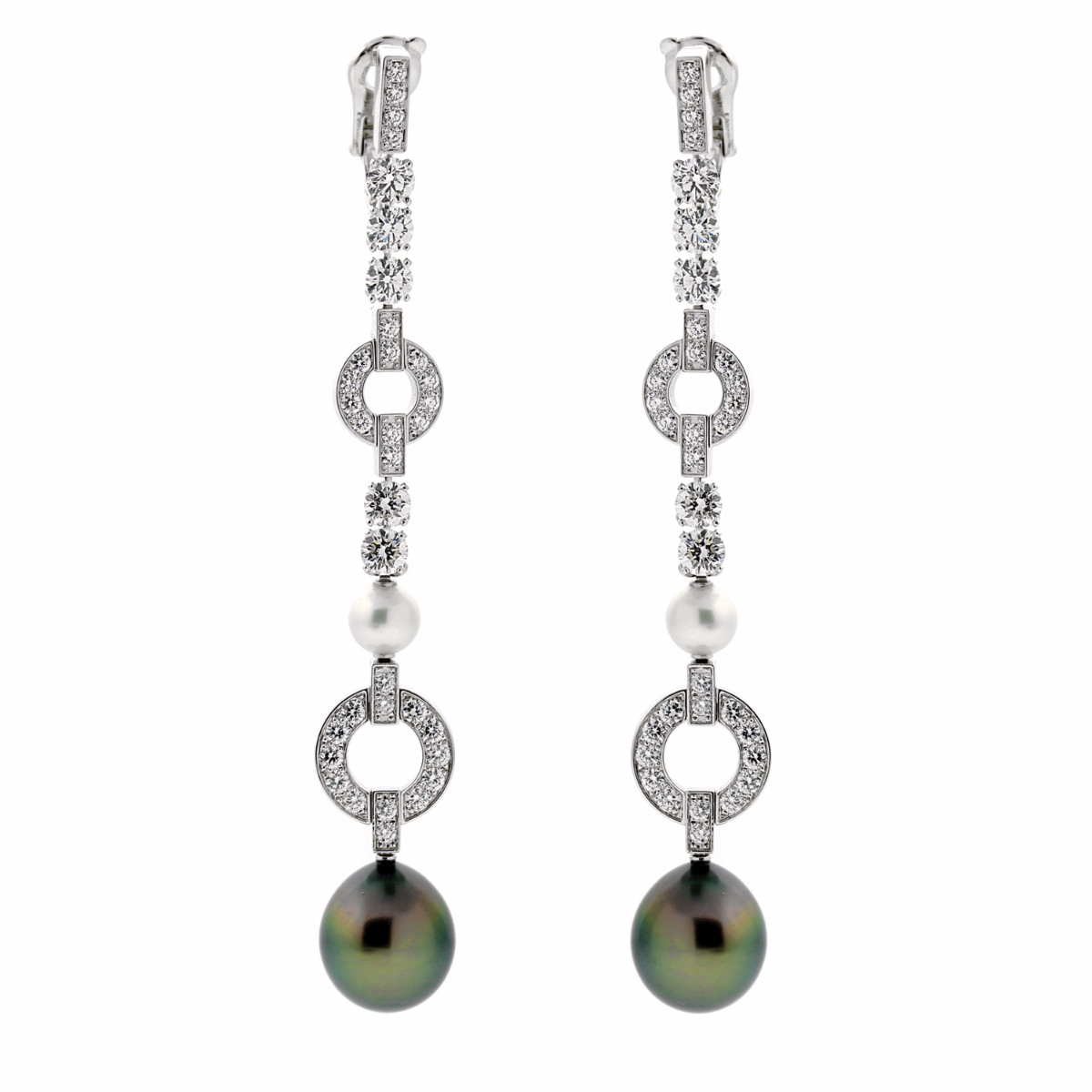 Cartier Himalia Pearl Diamond White Gold Earrings - Cartier Jewelry