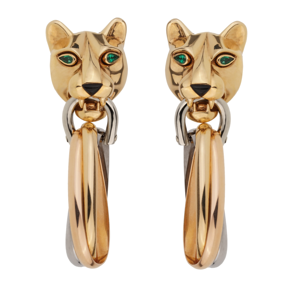 Cartier Panthere Day Night 18k Gold Drop Earrings - Cartier Jewelry