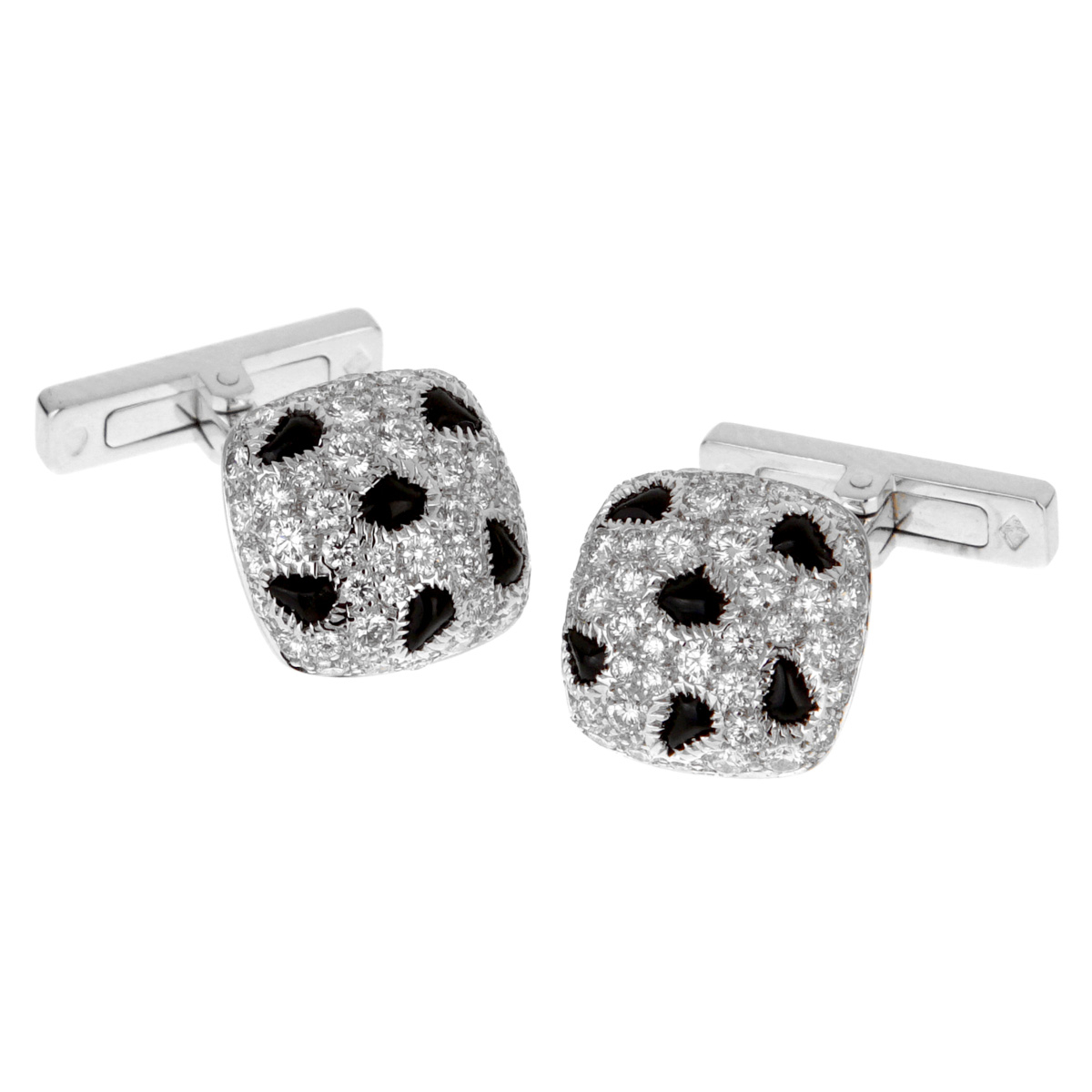 Cartier Panthere White Gold Diamond Onyx Cufflinks - Cartier Jewelry