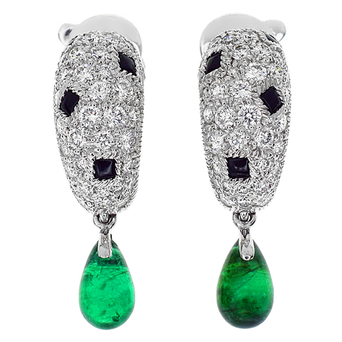 Cartier Panthere Onyx Emerald Diamond Gold Earrings - Cartier Jewelry