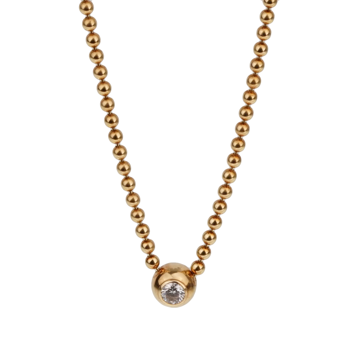 Cartier Vintage Solitaire Diamond Gold Pendant Necklace - Cartier Jewelry