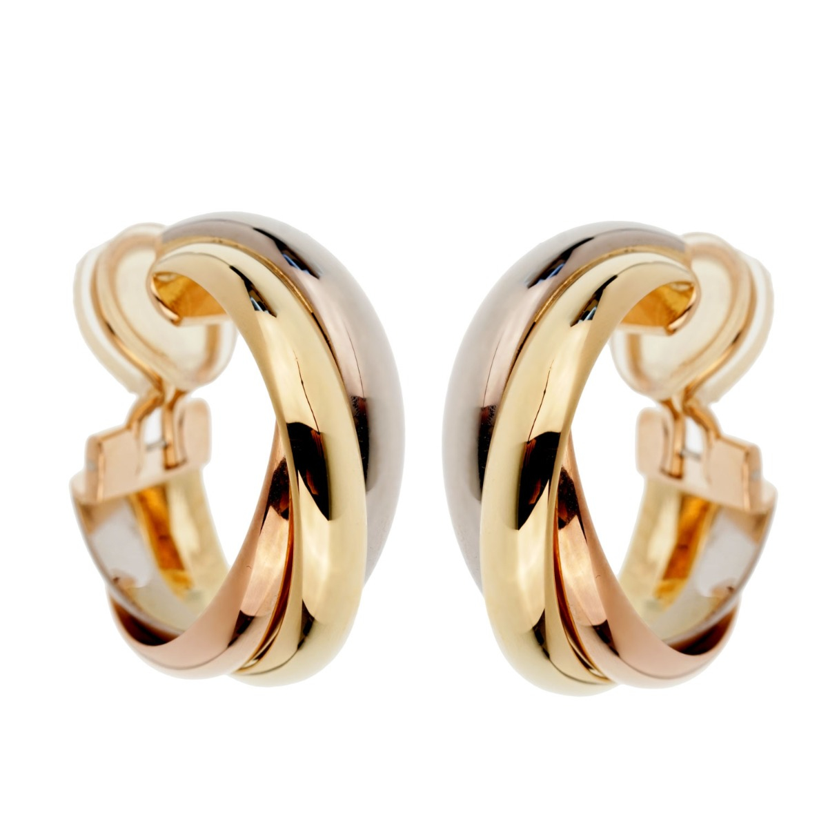 Cartier Trinity Vintage Gold Clip On Earrings - Cartier Jewelry