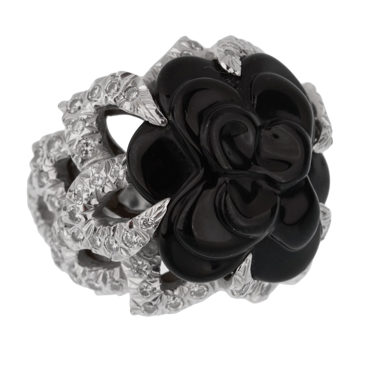 Chanel Camelia Diamond Onyx White Gold Ring - Chanel Jewelry