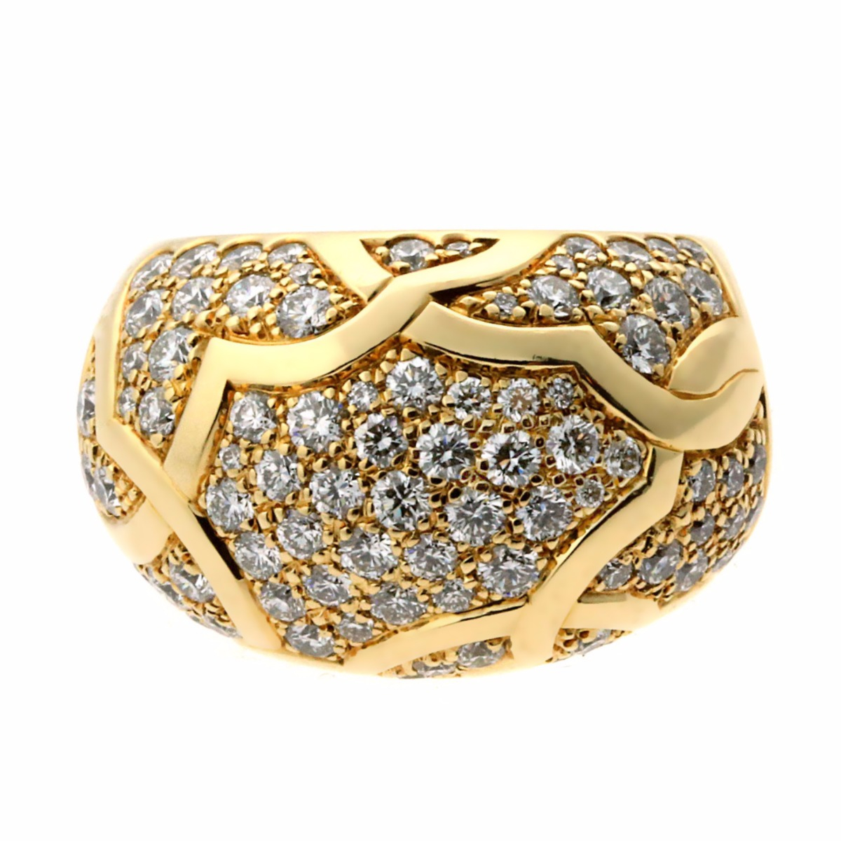 Chanel Camellia Flower Diamond Gold Cocktail Ring - Chanel Jewelry