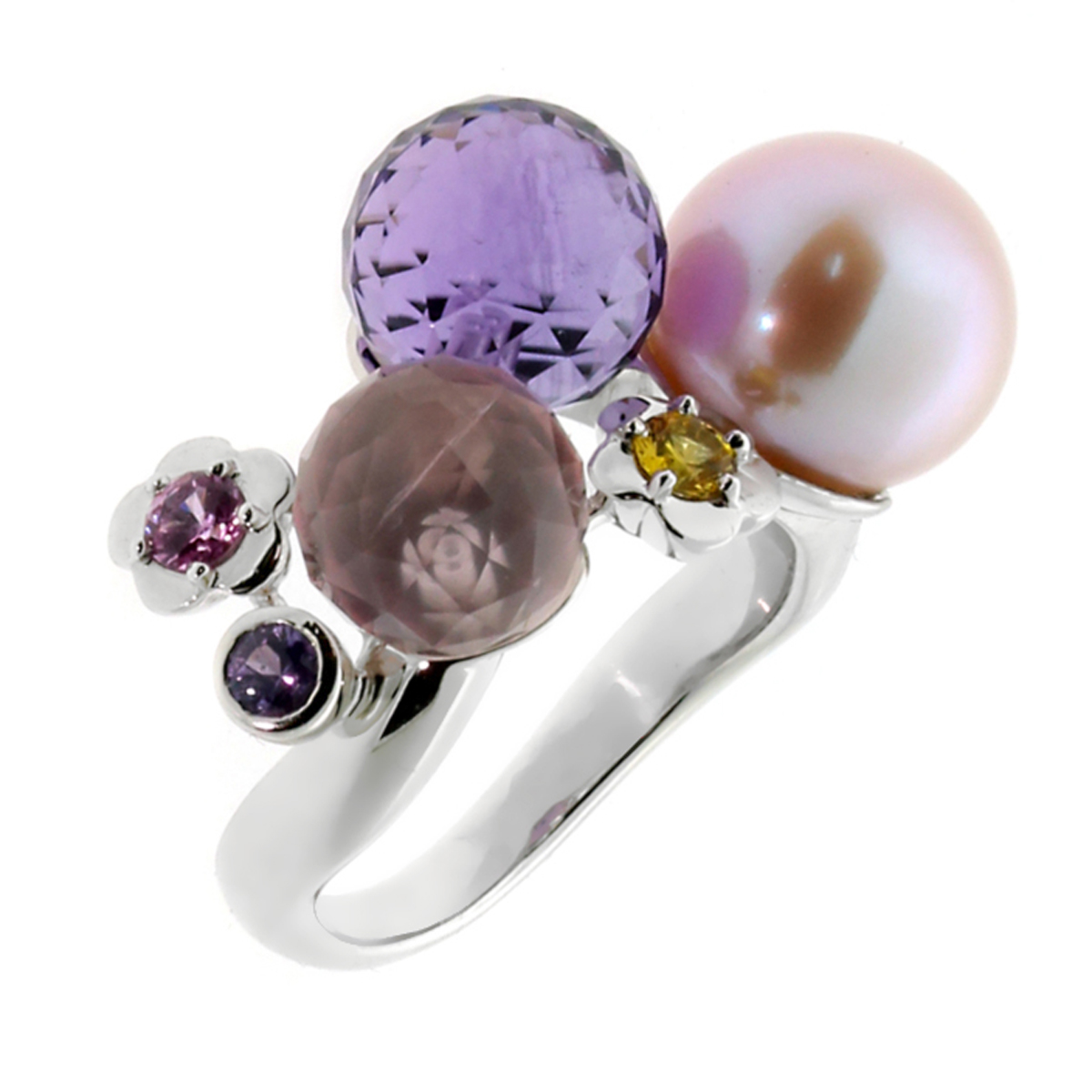 Chanel Camellia Gemstone Pearl White Gold Ring - Chanel Jewelry