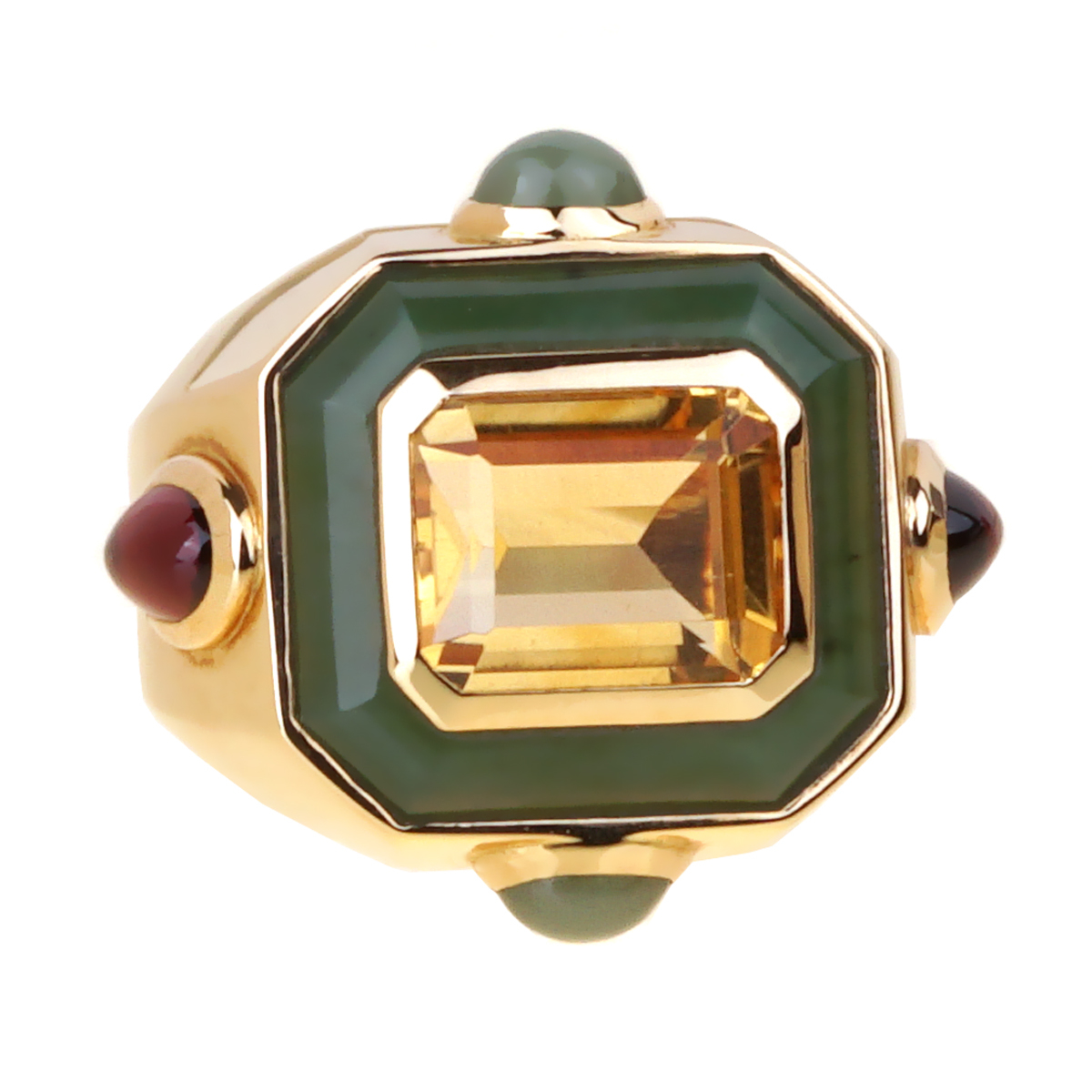 Chanel Citrine Jade Gold Cocktail Ring - Chanel Jewelry