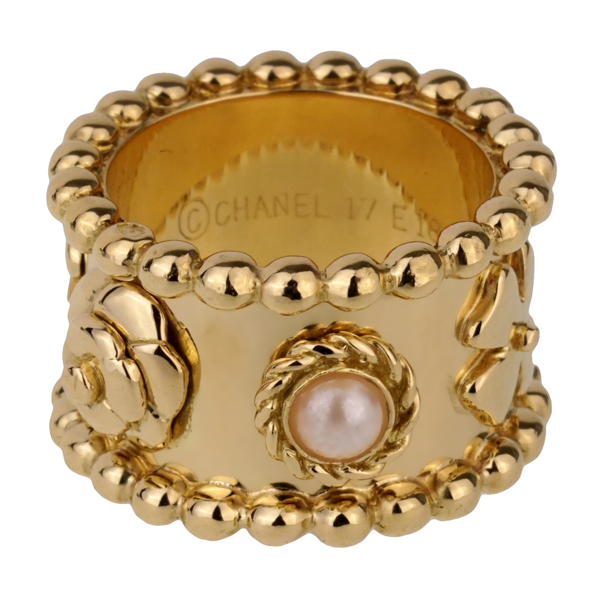 Chanel Lucky Pearl Gold Band Ring - Chanel Jewelry