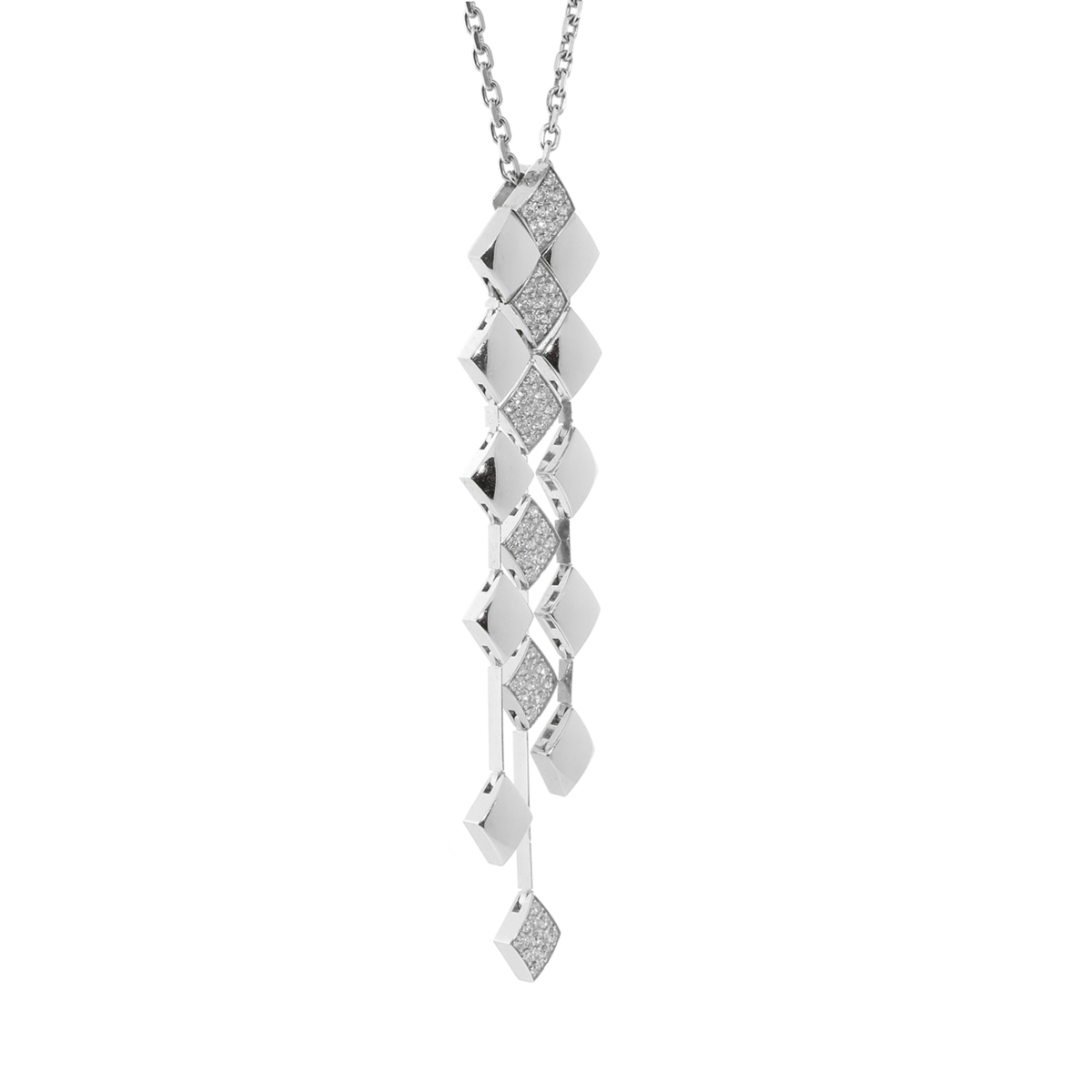 Chanel Matelasse Diamond White Gold Necklace - Chanel Jewelry