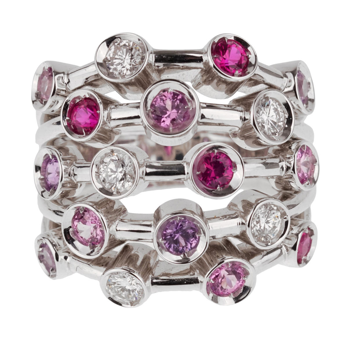 Chanel Pink Sapphire Diamond White Gold Ring - Chanel Jewelry