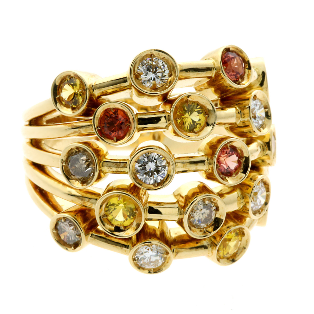 Chanel Diamond Multicolor Sapphire Gold Ring - Chanel Jewelry