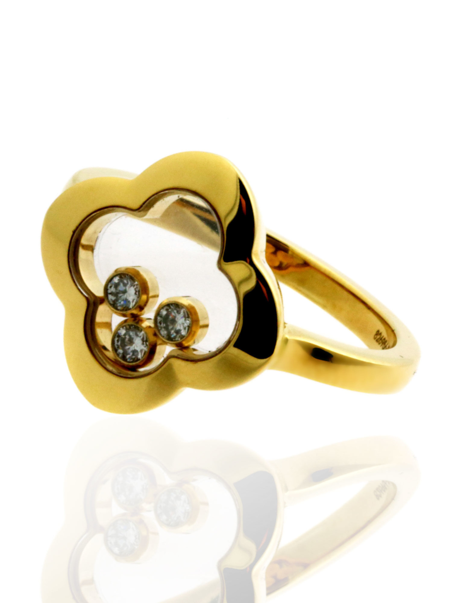 Chopard Quatrefoil Happy Diamond Ring in 18kt Yellow Gold 826956-0110 - Chopard Jewelry