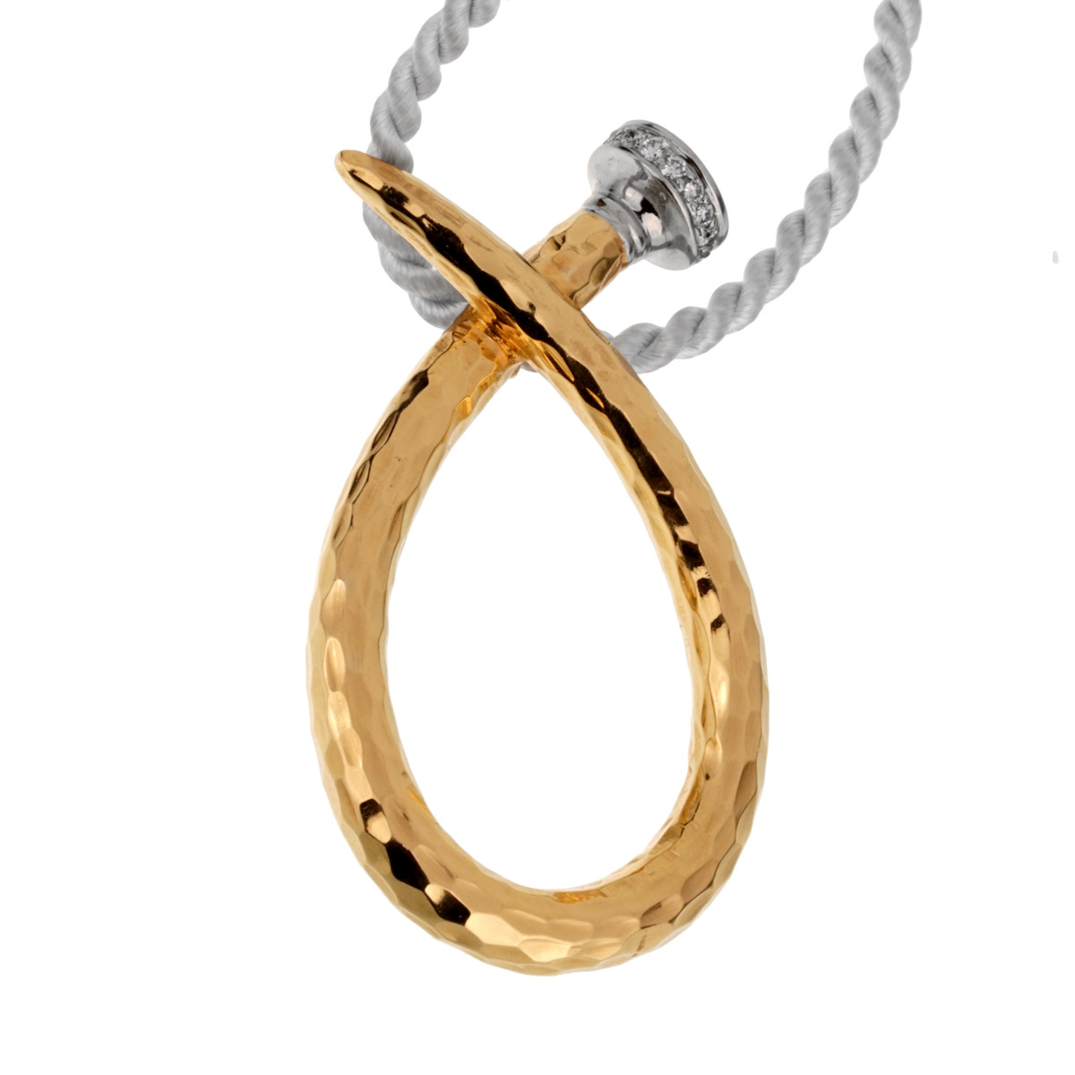 David Webb Infinity Nail Pendant Diamond Gold Necklace - David Webb Jewelry