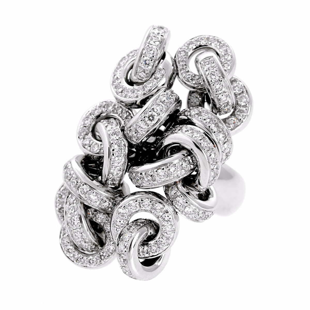 De Grisogono Diamond Cocktail White Gold Ring - De Grisogono Jewelry