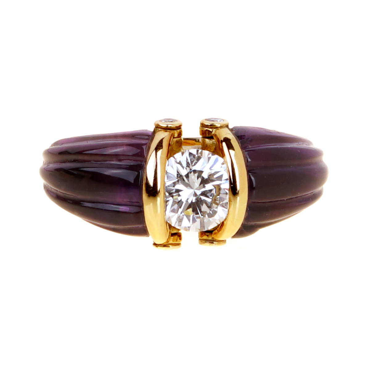 Dior Carved Amethyst Diamond Solitaire Ring - Dior Jewelry