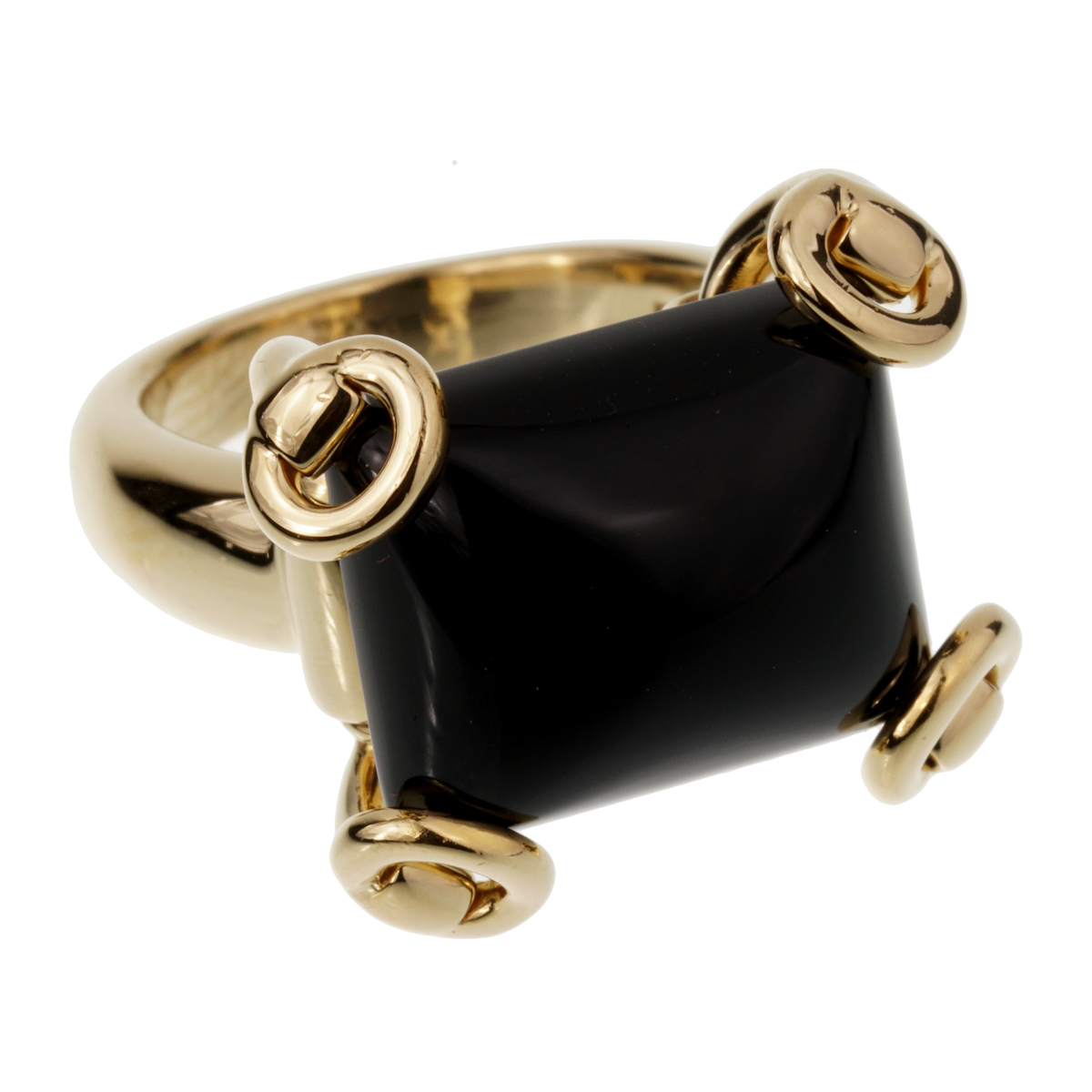 Gucci Horsebit Onyx Yellow Gold Cocktail Ring - Gucci Jewelry
