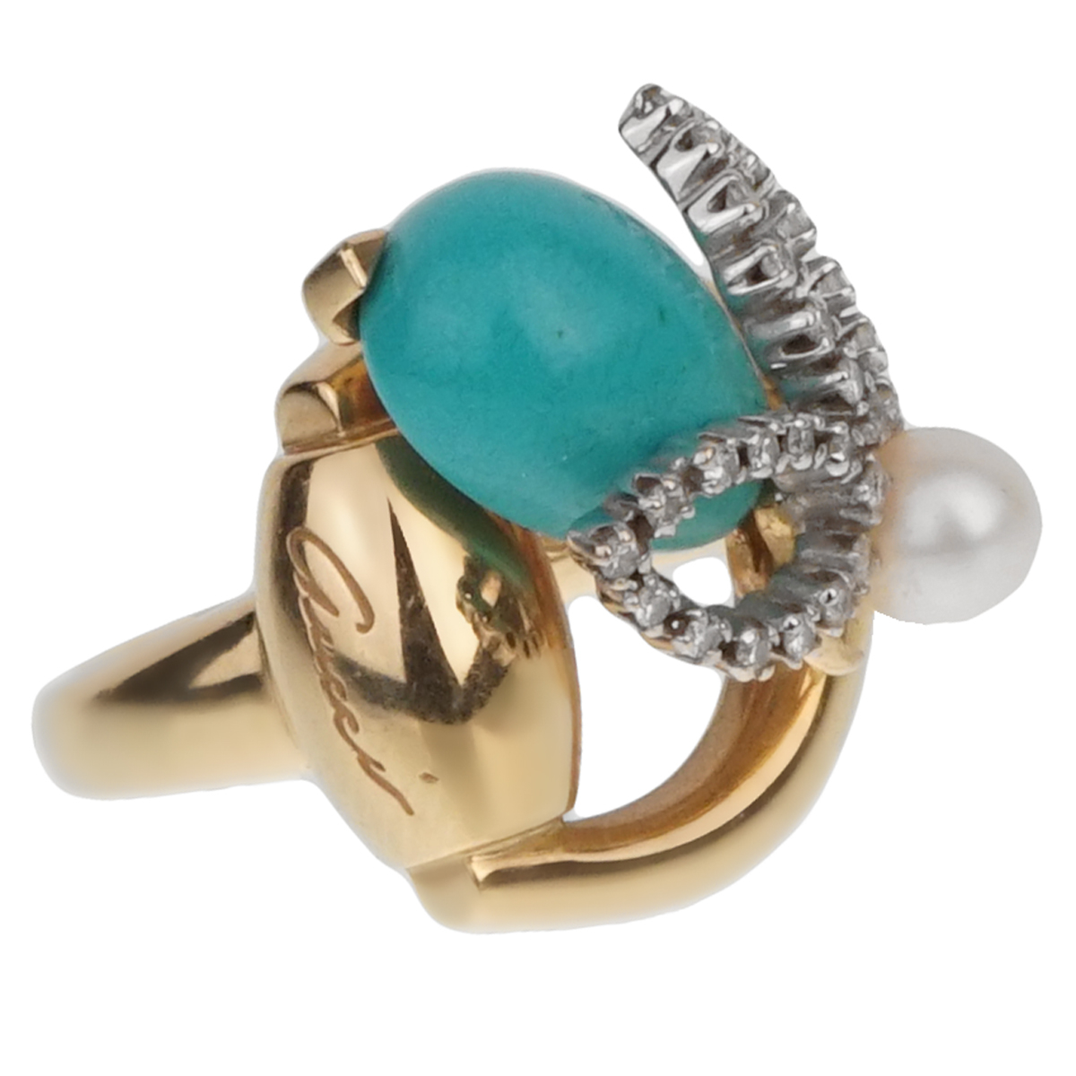 Gucci Diamond Horsebit Turquoise Pearl Yellow Gold Ring - Gucci Jewelry
