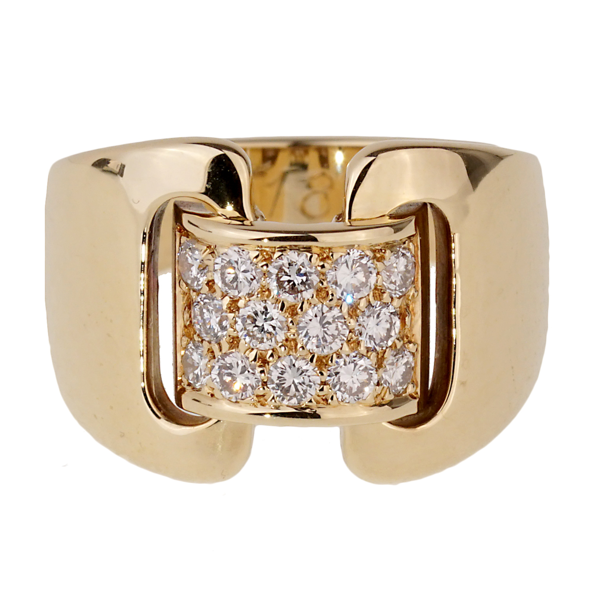 Hermes Diamond Yellow Gold Cocktail Ring - Hermes Jewelry