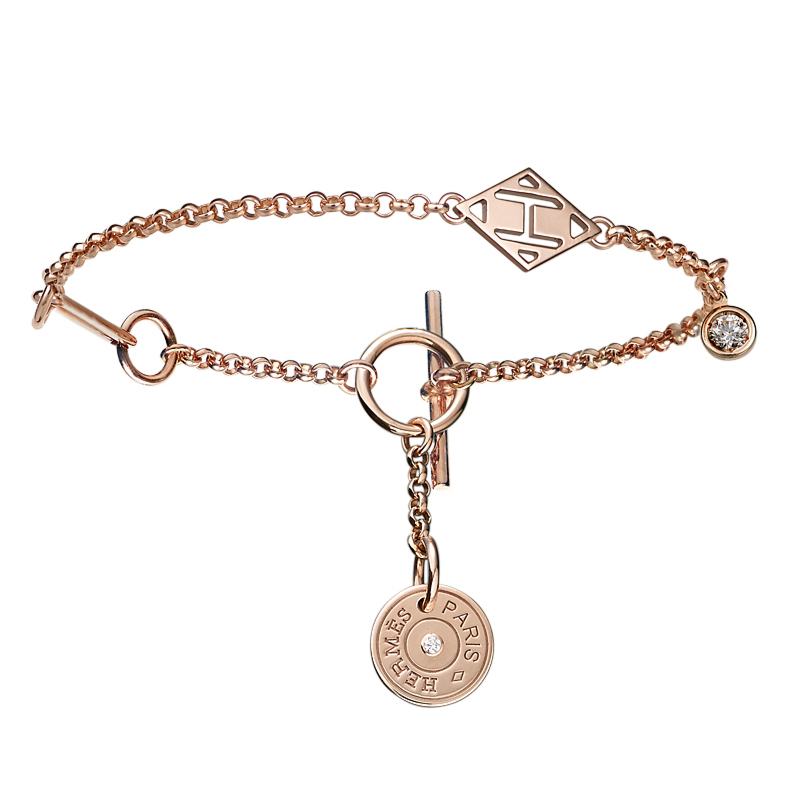 Hermes Gambade Rose Gold Diamond Bracelet - Hermes Jewelry