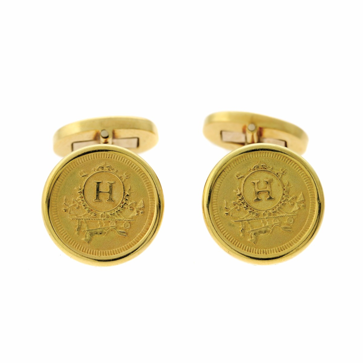Hermes Yellow Gold Cufflinks - Hermes Jewelry