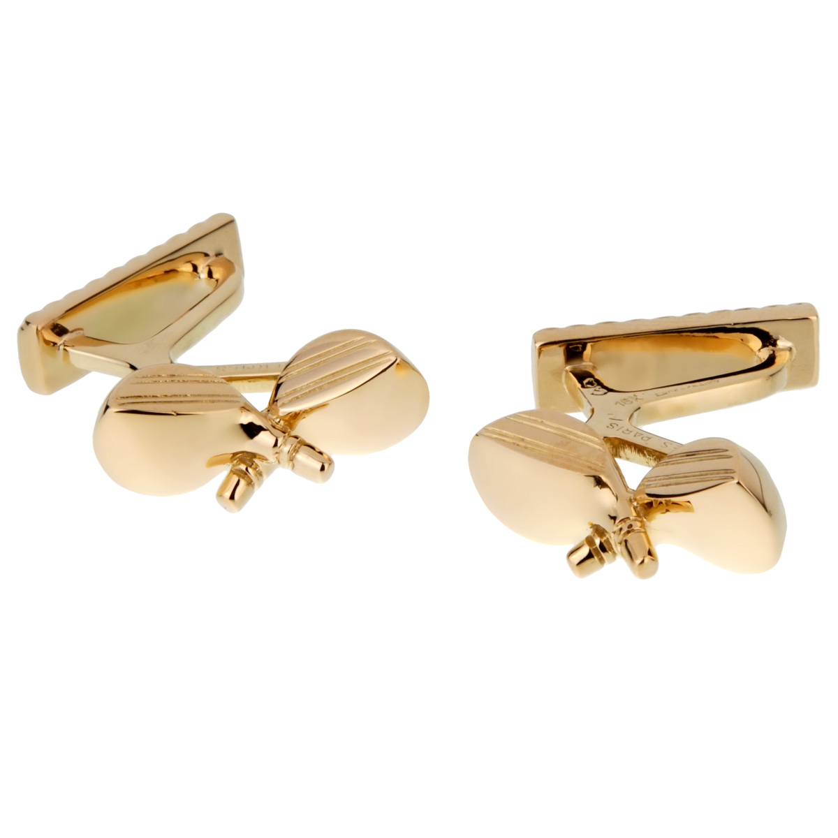 Hermes Yellow Gold Golf Club Cufflinks - Hermes Jewelry