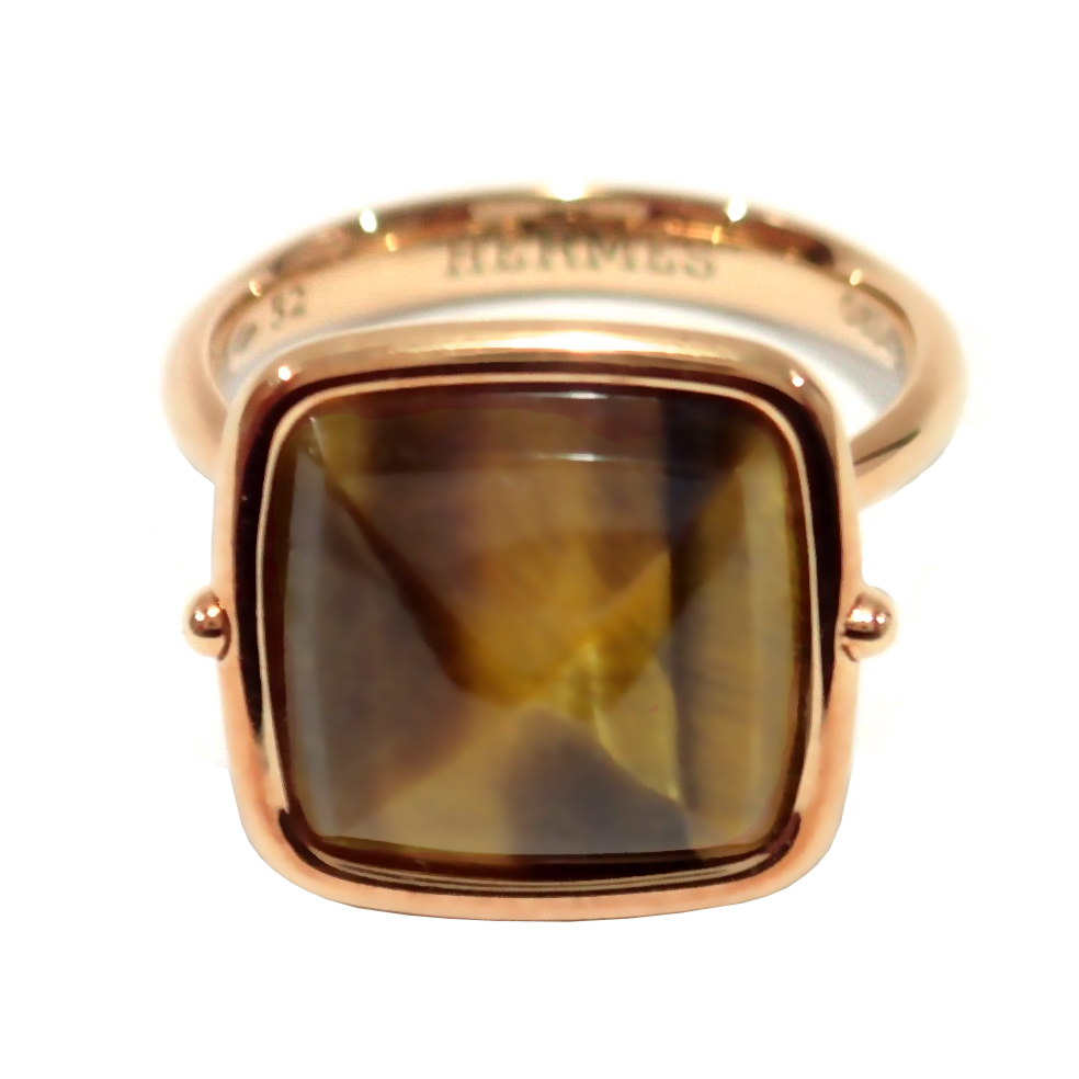 Hermes Tiger Eye Rose Gold Cocktail Ring - Hermes Jewelry