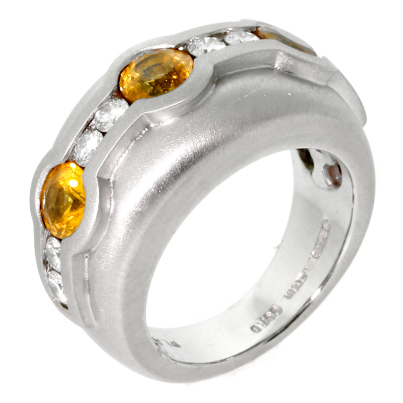 Barry Kieselstein Cord Diamond Yellow Sapphire Platinum Ring - Kieselstein Cord Jewelry