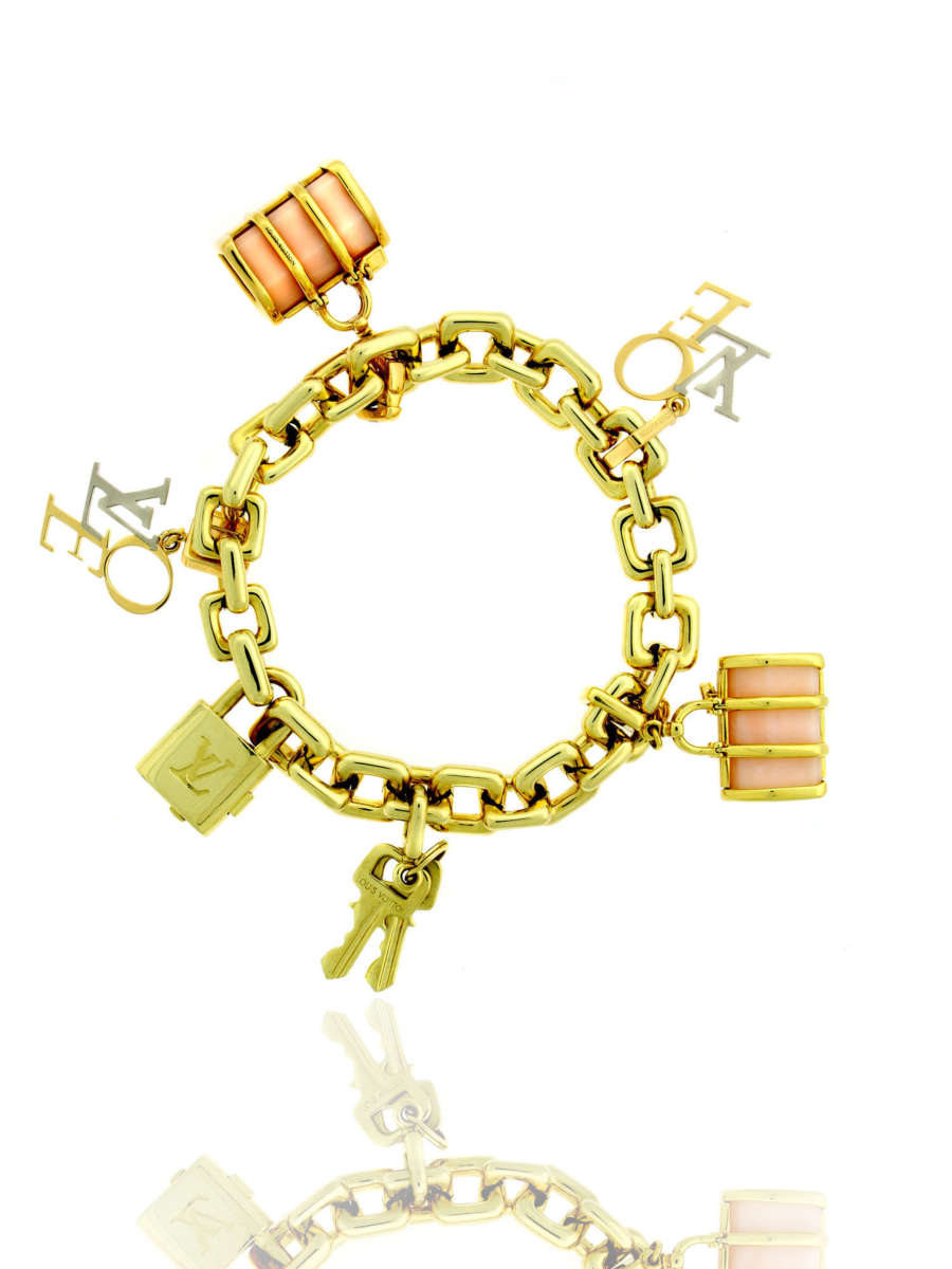 Louis Vuitton Padlock and Keys Love and Keepall Charm Bracelet 18k Yellow Gold N04204 - Louis Vuitton Jewelry