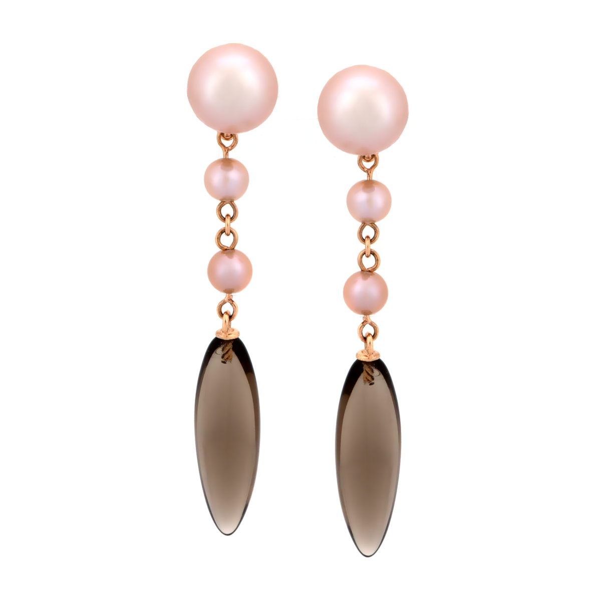 Mimi Milano Smoky Quartz Pearl 18k Rose Gold Earrings - Mimi Milano Jewelry