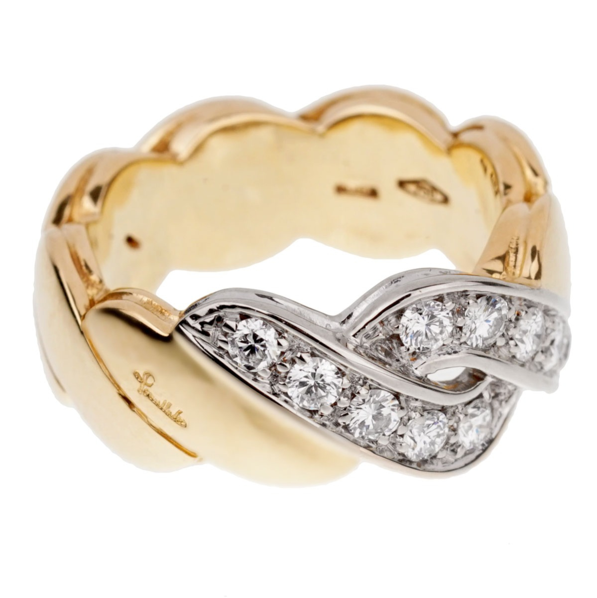 Pomellato Braided Diamond Yellow Gold Ring - Pomellato Jewelry