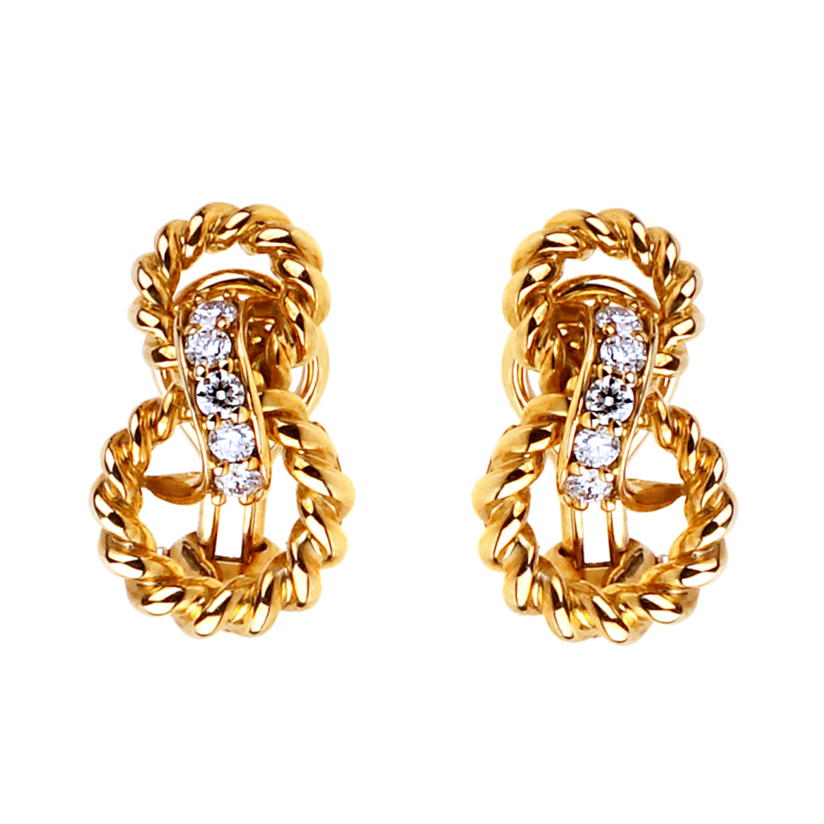 Tiffany & Co Braided Gold Diamond Earrings - Tiffany and Co Jewelry