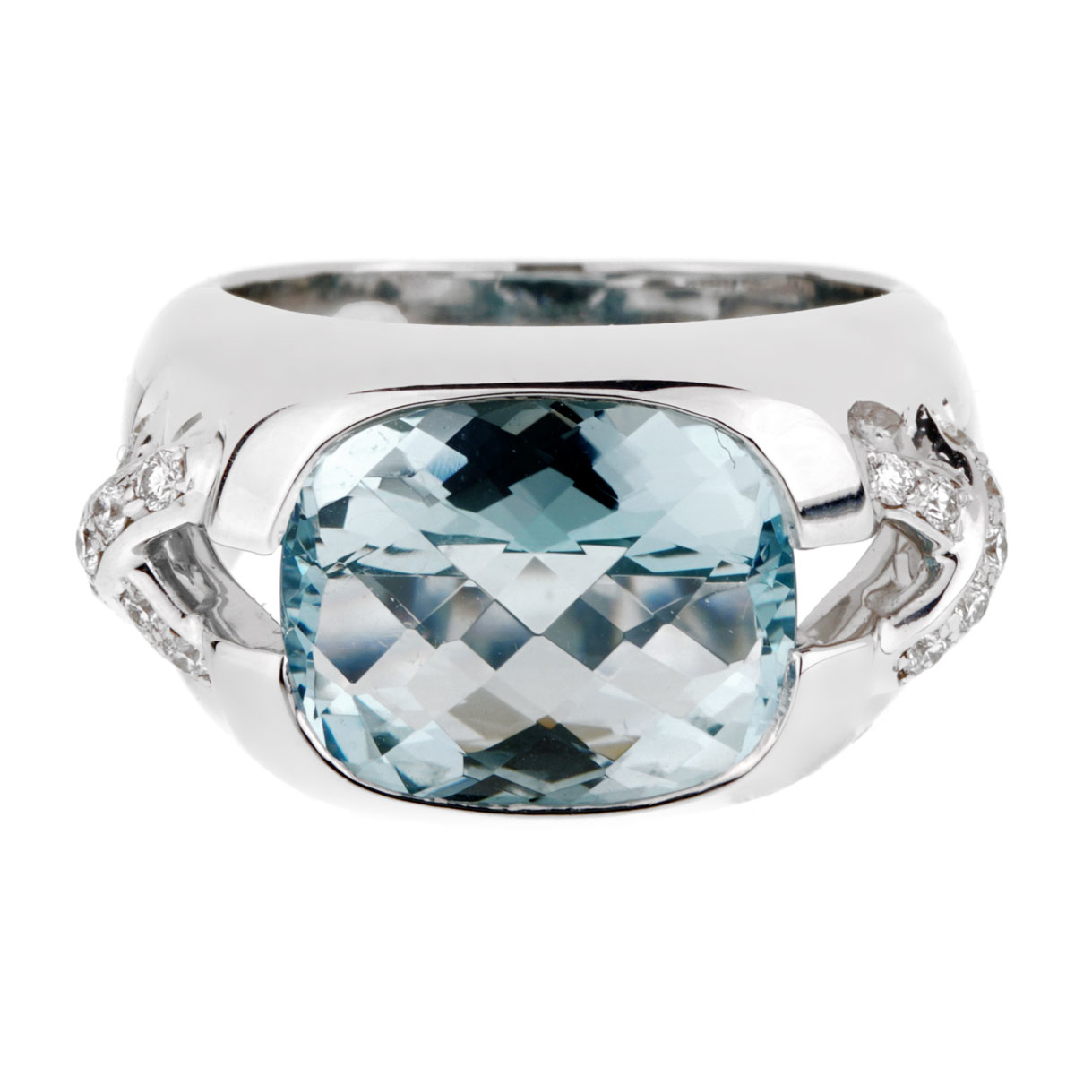 Tiffany & Co Aquamarine Diamond White Gold Ring - Tiffany and Co Jewelry