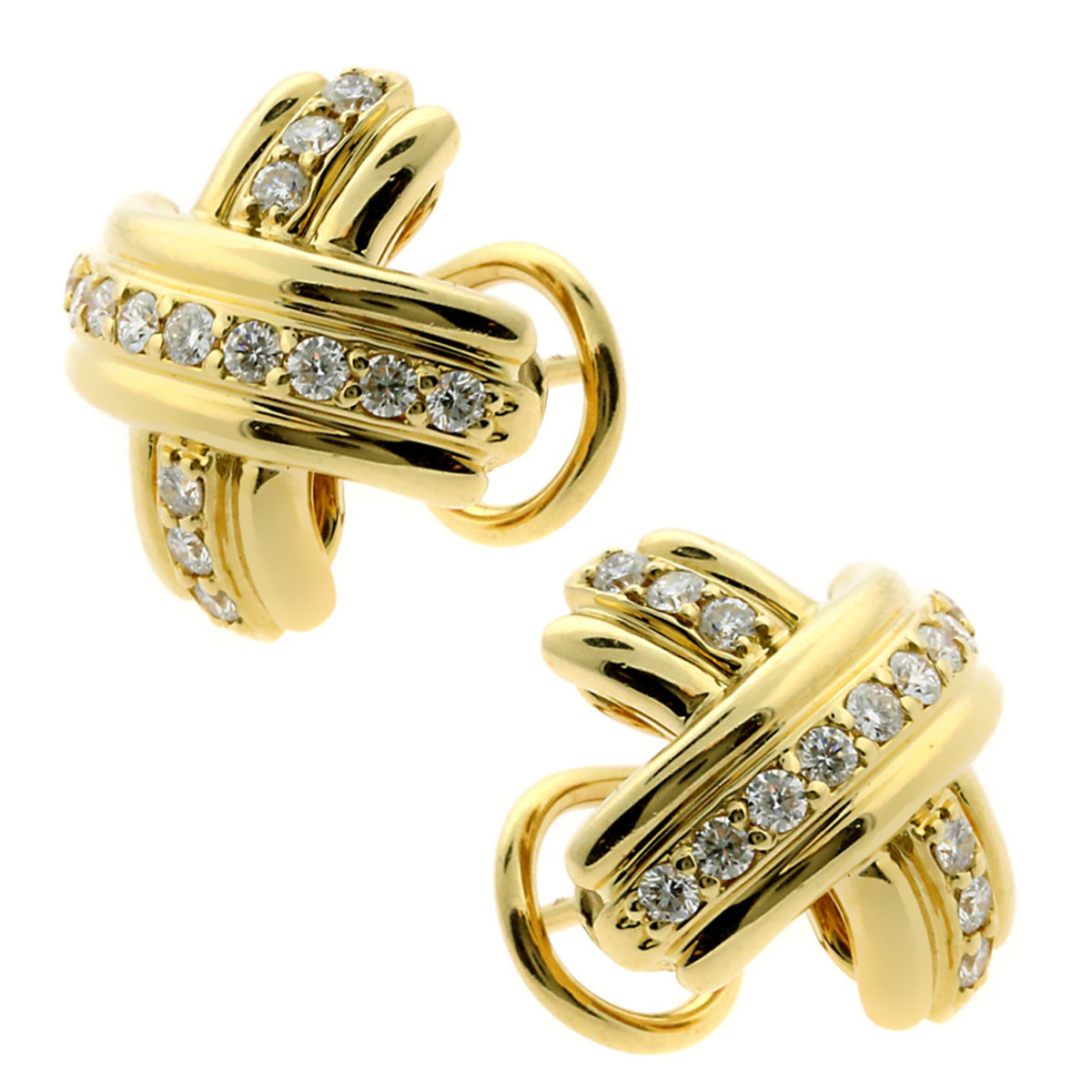 Tiffany & Co Crisscross Diamond Gold Earrings - Tiffany and Co Jewelry