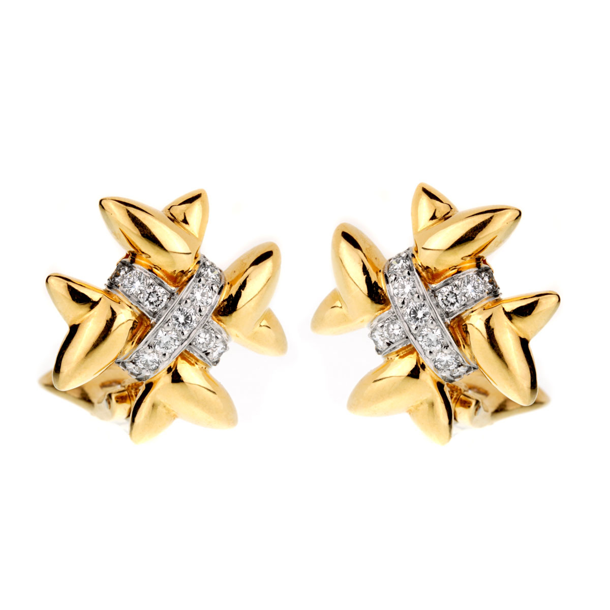 Tiffany & Co 18k Gold Diamond Cross Earrings - Tiffany and Co Jewelry