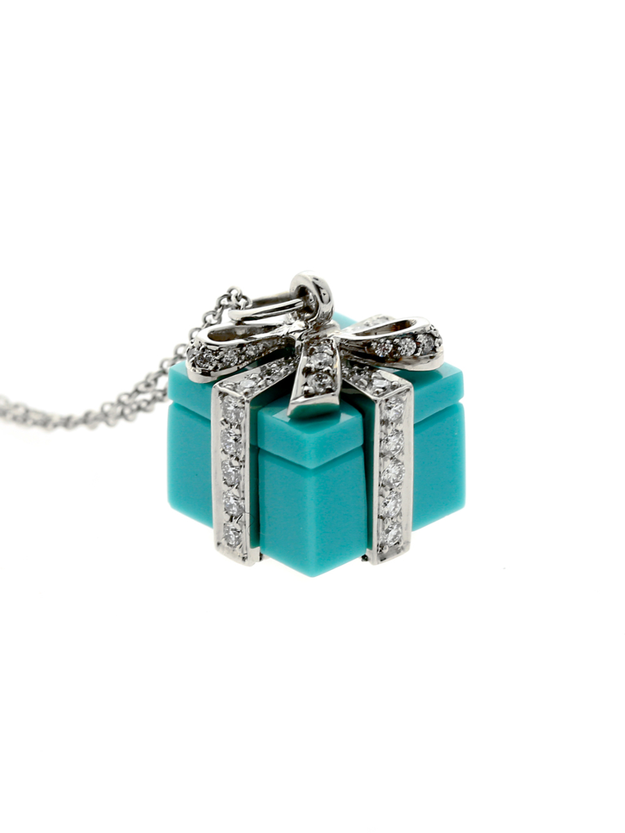 Tiffany & Co Turquoise Diamond Platinum Necklace - Tiffany and Co Jewelry